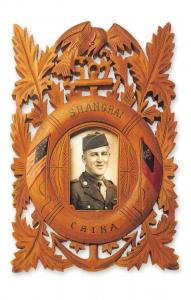 Postcard USA, Carved Wooden Picture Frame purchased in China at the End of WW1