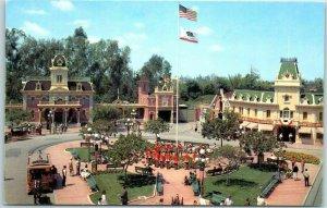 c1950s DISNEYLAND Union Pacific Railroad Postcard Village Square Main Street