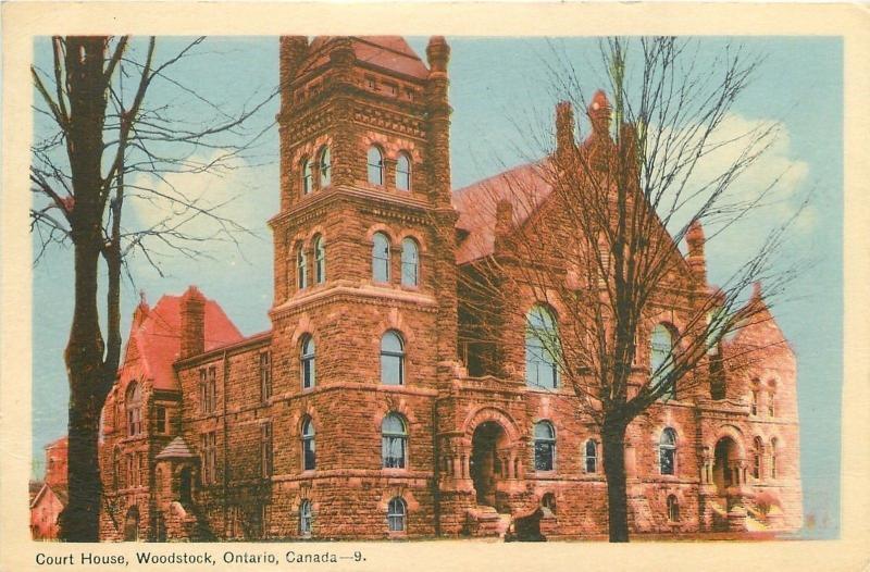 Woodstock Ontario~Gothic Stone Court House~1940s Linen Postcard