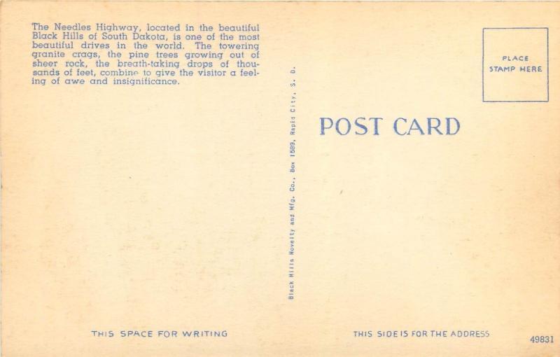 The Needles Highway Black Hills South Dakota SD Postcard