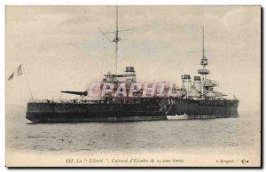 Old Postcard Boat La Liberte Breastplate d & # 39escadre