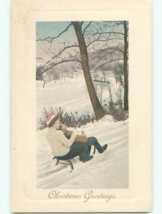 Unused Pre-Linen christmas KIDS RIDING ON TOBOGGAN SLED DOWN THE HILL J1289