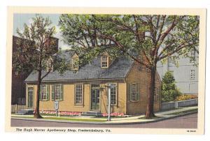 VA Fredericksburg Hugh Mercer Apothecary Vintage Linen Postc
