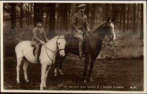 King George VI & Princess Elizbeth Riding Horses Real Photo Postcard