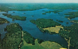 BEDFORD TOWNSHIP, Ontario, Canada, 1940-60s; Aerial View of Devil Lake in the...
