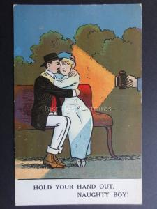 Comic Postcard Romance Theme Young Couple cudle on park bench HOLD YOUR HAND OUT