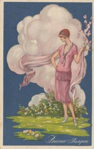 ART DECO ; Buona Paques (Easter) Female in pink blouse, skirt & scarf, PU-1926