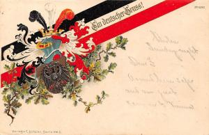 Patriotic postcard Germany ein deutscher gruss eagle coat of arms 1901