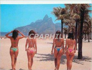 Modern Postcard Rio de Janeiro Brazil Ipanema Beach with girls in loincloth