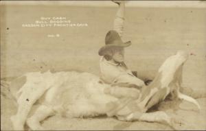 Oregon City OR Guy Cash Cowboy Rodeo Bulldogging Nice Close-Up RPPC Postcard