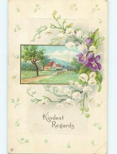 Divided-Back art nouveau LILY OF THE VALLEY FLOWERS & COUNTRY ROAD r4398