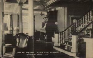 Rockland ME Hotel Lobby Postcard