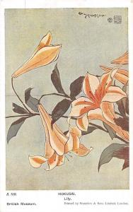 Japan Hokusai Lily, Printed by Waterlow Flowers Postcard