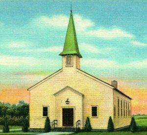 Camp Maxey Texas Tx Chapel Église Inutilisé Unp Vtg Lin Carte Postale 1940s WWII