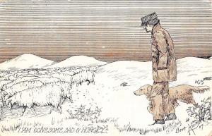 Bert Knight~Modern Shepherd & His Dog~Sheep~I Am Lonesome Sad & Hungry~1910 PC