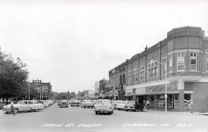 Clarion Iowa~Koethe's~Famsay's? Tomke Drugs~1957 Bel-Air Station Wagon~Bank RPPC
