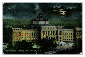 Vintage 1910 Postcard Panoramic View Library of Congress at Night Washington DC