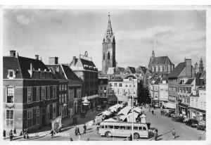 Netherlands Den Haag Grote Markt Market Street Cars Tower Church Postcard