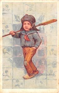 Smoking Old Vintage Antique Post Card Child Smoking Unused