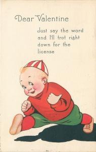 Valentine~Red Stripe Beanie Boy Casts Shadow~Say Word: I'll Get License~Gibson