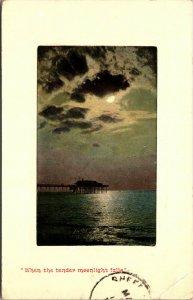 1910 - WHEN THE TENDER MOONLIGHT FALLS - PIER - VINTAGE POSTCARD Zimmerman Co