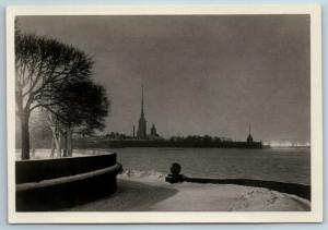 1955 LENINGRAD Peter and Paul Fortress Architecture RPPC Russian USSR Postcard