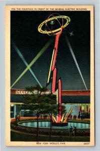 1939 New York World's Fair - Night, Fountain General Electric Building Postcard