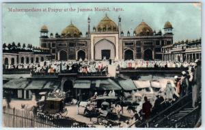 AGRA, INDIA  Muhammedans at Prayer, Jumma Masjid   MOSQUE  MUSLIMS   Postcard
