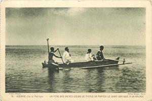 Oceania Pacific Ocean Islands boat missionary father carry viaticum to a sick