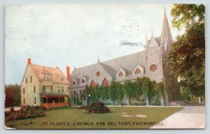 Freeport Illinois~St Mary's Church & Rectory~Flower Beds on Lawn~1908 Postcard
