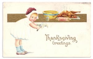 Thanksgiving Girl Trimming Pie Child Turkey Vintage Embossed Gold Postcard