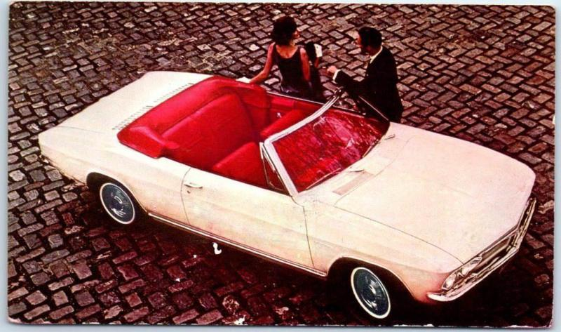 1965 CHEVROLET CORVAIR Automobile Advertising Postcard Corsa Convertible