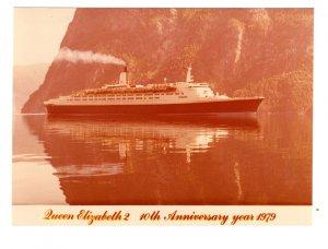 Queen Elizabeth 2 Cunard Ocean Liner 10th Anniversary 1979 5 X 7 inch Photograph