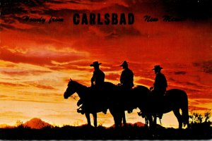 New Mexico Howdy From Carlsbad Showing Cowboys At Desert Sunset