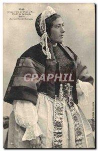 Old Postcard Folklore Young girl Bridge L & # 39Abbe rotator Profile