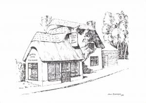 Postcard Art Sketch Manor Farm Tea Rooms, 16th Century, Burley, New Forest #B