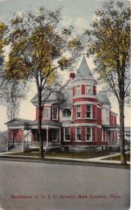 New London Ohio~D J C Arnold Residence~Beautiful Home~1914 Postcard