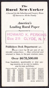 Rural New Yorker – Howard Perkins Clyde NY blotter – c 1930