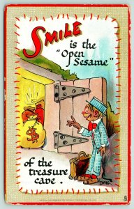 Dwig~SMILE is Open Sesame of Treasure Cave~Fellow finds Trove~Money Bags~TUCK