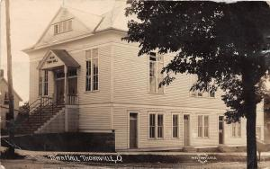 D23/ Thornville Ohio Postcard Real Photo RPPC 1910 Town Hall Building