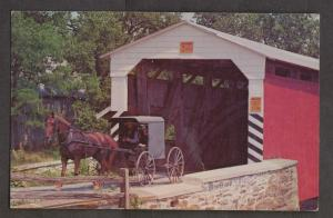 Covered Bridge - Amish Family - With Horse & Buggy