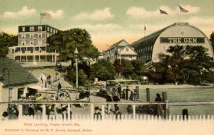 ME - Portland. Peaks Island, The Gem Theatre, Peaks Island House, Boat Landing