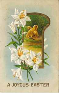 Chick and Lily Flowers In Key Hole Frame Easter Greeting Vintage Postcard