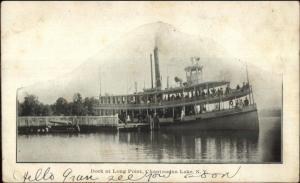 Chautauqua Lake NY Dock & Steamer at Long Point c1905 Postcard