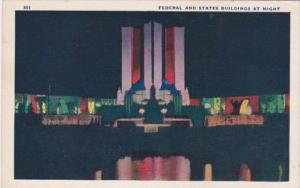Federal and States Buildings At Night Chicago World's Fair 1933