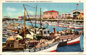 California San Francisco Fisherman's Wharf Fishing Fleet 1939