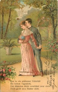 Sun Peeps At Loving Couple~Lace Collar Tops Pink Gown~Park~Roses~Gold Leaf~Emb