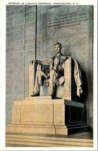 Interior of Lincoln Memorial Washington D.C. Postcard