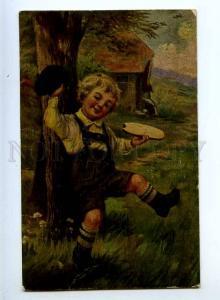 240938 Happy Boy w/ Bread by W. DOLL Vintage Olgemalde PC