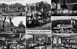 Austria Grand Cafe Winkler Salzburg multiview Interior Terrace Castle Panorama